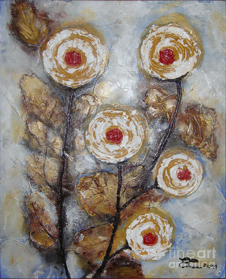 Roses Painting - Frosen Roses by Elena  Constantinescu