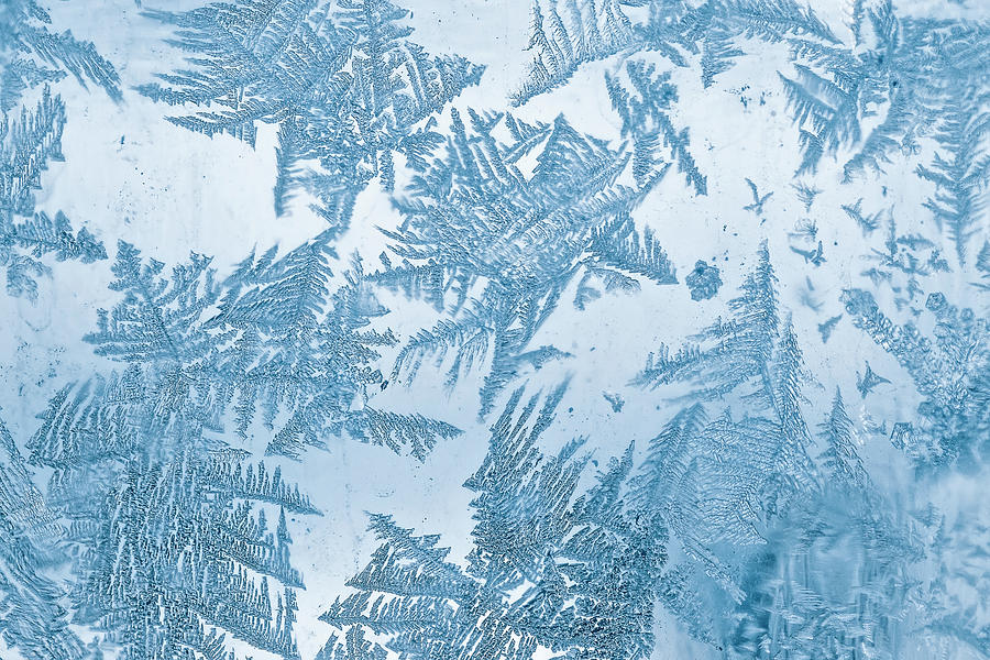 Frost Blue Pattern On Window Photograph by Oxygen