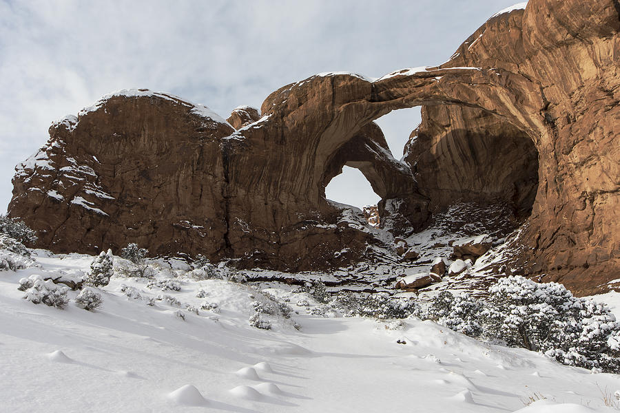Double Arch Photograph - Frosted Double Arch by Mike Herdering
