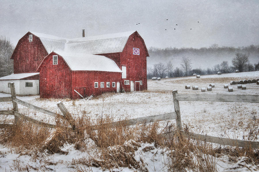 Barn Photograph - Frosted Hay Bales by Lori Deiter