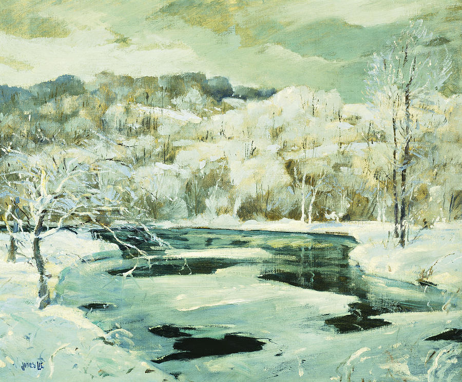 American Painting - Frosted Trees by Jonas Lie