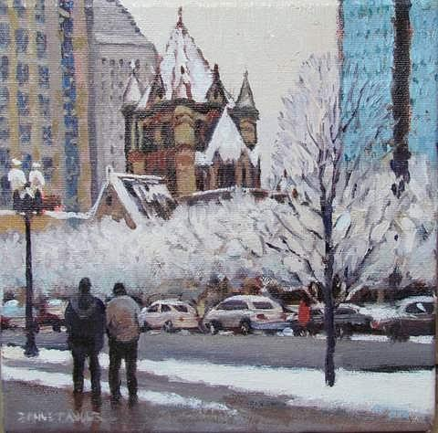 Boston Painting - Frosted Trinity by Dianne Panarelli Miller