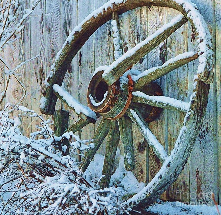 Wagon Wheel Photograph - Frosted Wheel by Roland Stanke