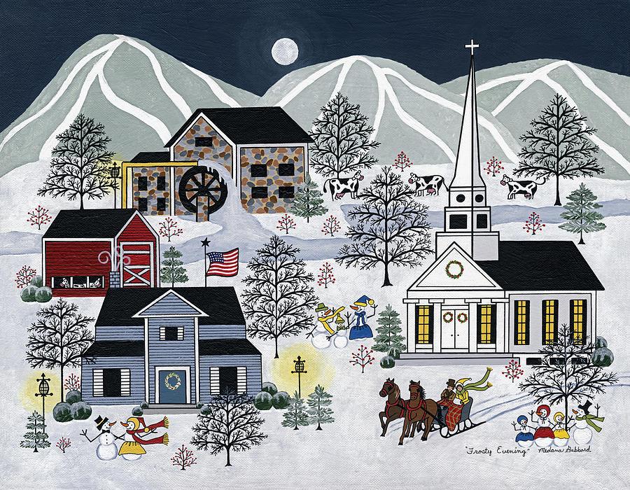 Winter Painting - Frosty Evening by Medana Gabbard