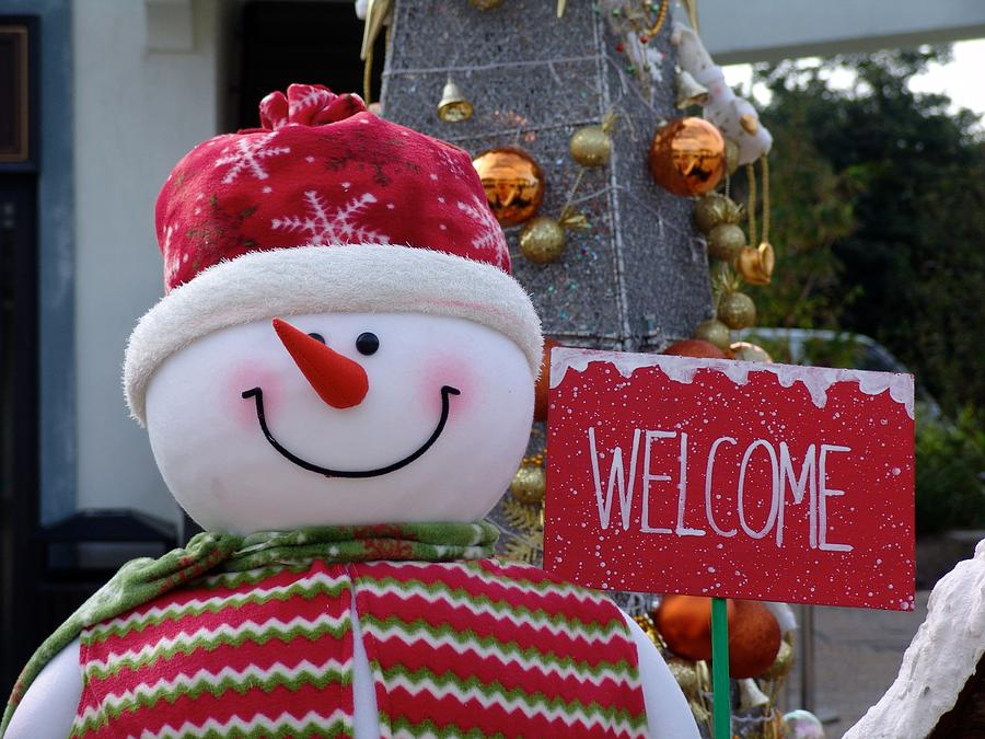 Frosty Snowman Holiday Greetings Photograph
