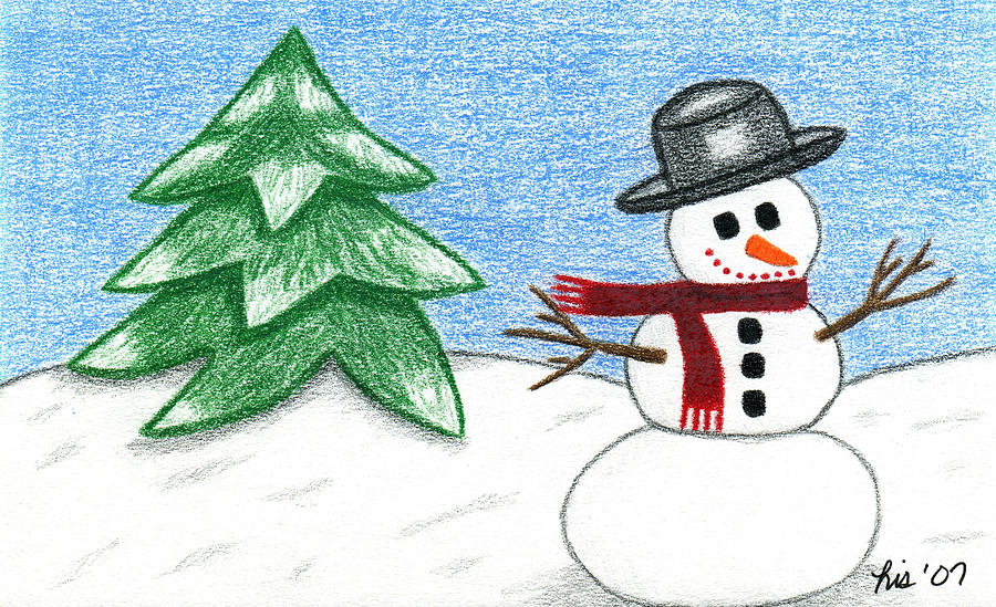 Christmas Drawing - Frostyland by Lisa Ullrich