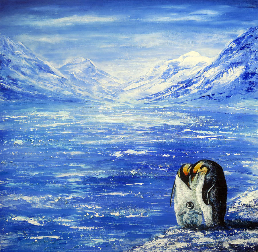 Hand Painted Painting - Frozen by Ann Marie Bone