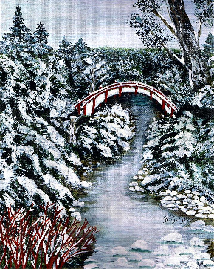 Winter Painting - Frozen Brook - Winter - Bridge by Barbara Griffin