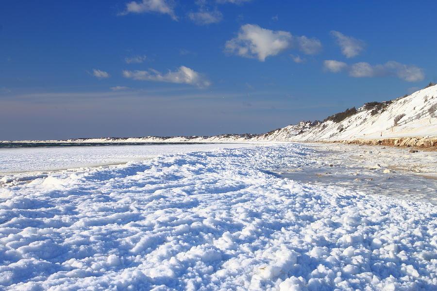 Frozen Cape Cod Bay Beach In Winter Photograph By John Burk