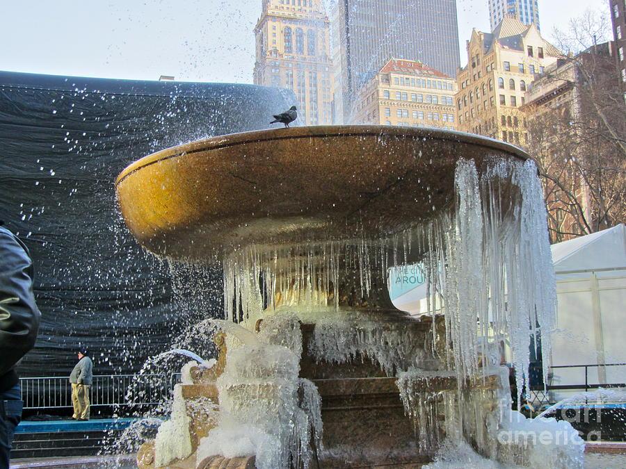 Color Photograph - Frozen Fountain by Maritza Melendez