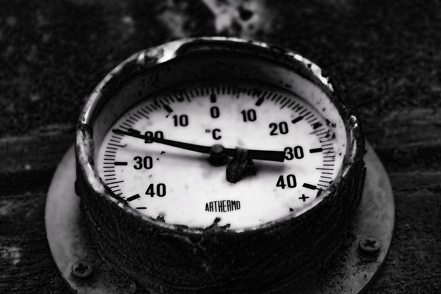 Thermometer Photograph - Frozen In Temp by Rienye Nyika