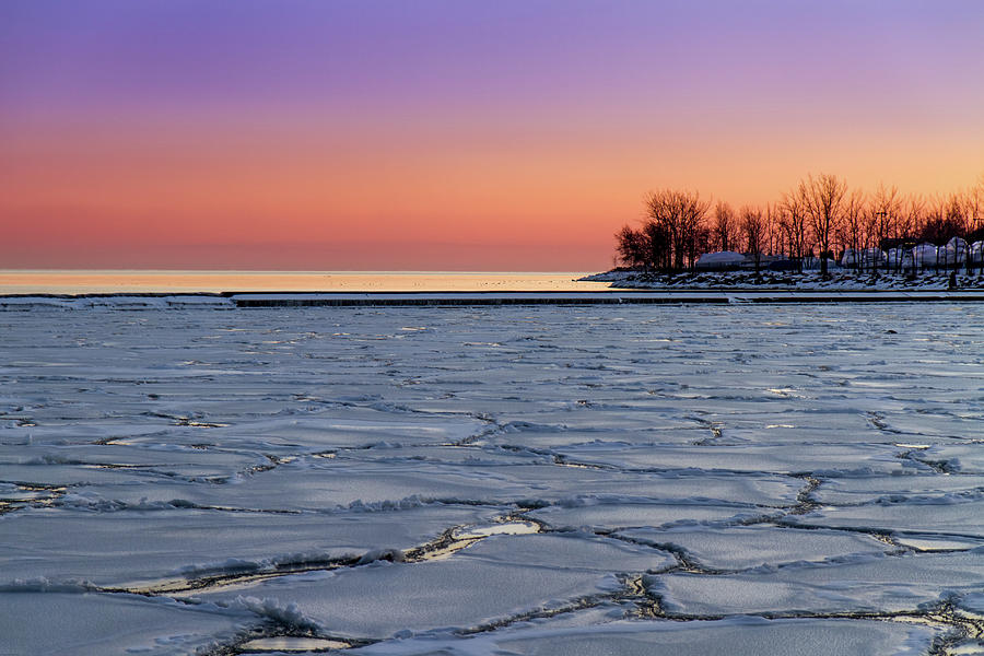 Frozen Lake Ontario Sunset Photograph by Frank Lee