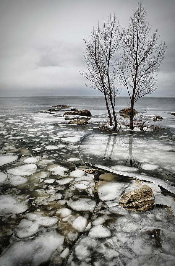 Ice Photograph - Frozen Lake by Vedran Vidak