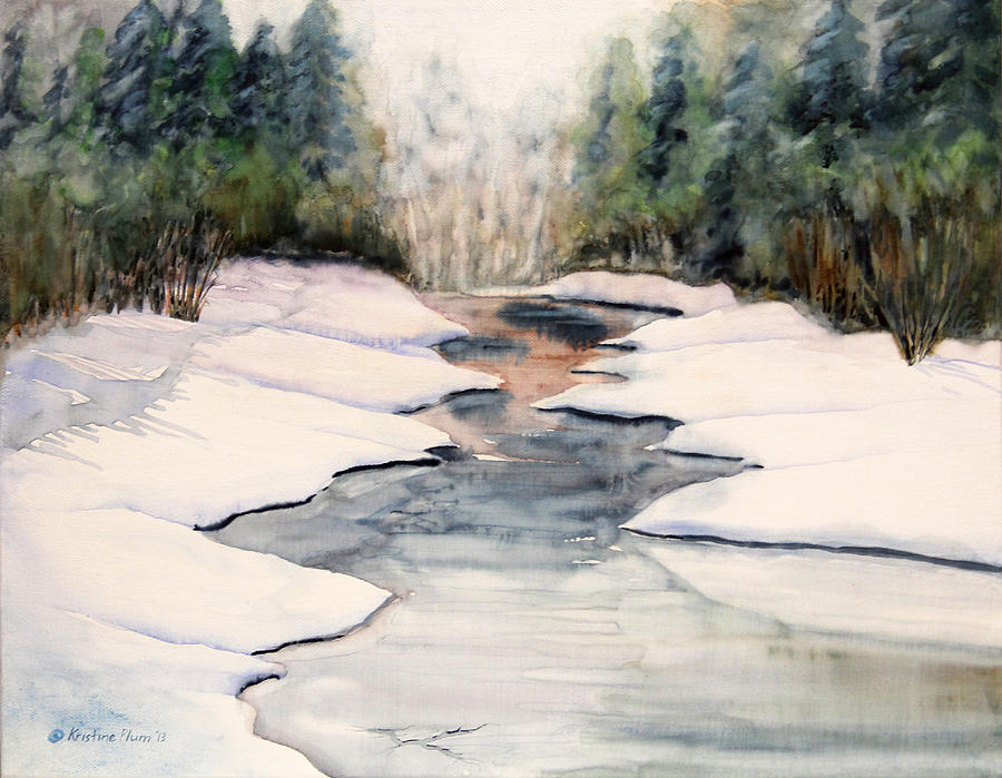 Frozen River Picture Painting - Frozen Over by Kristine Plum