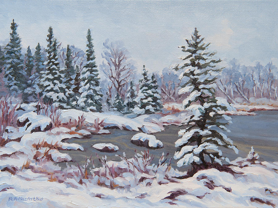Winter Landscapes Painting - Frozen Pond by Rob MacArthur