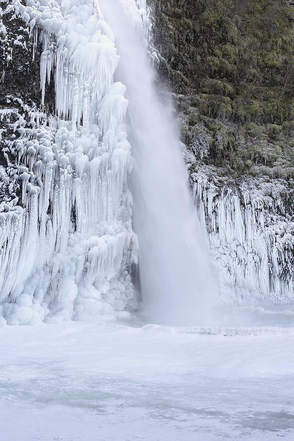 Frozen Pool At Horsetail Falls Oregon Photograph
