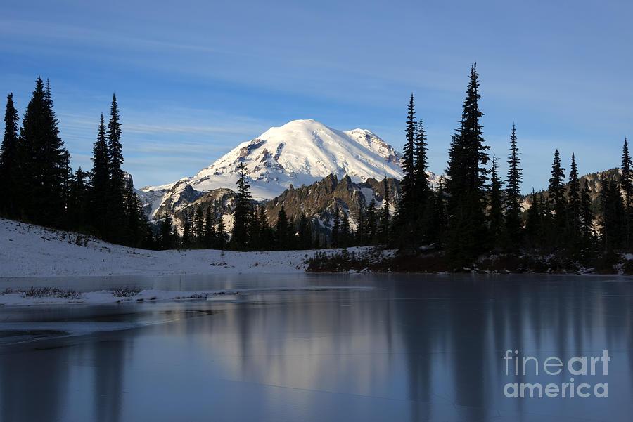 Mt. Rainier Photograph - Frozen Reflection by Mike Dawson