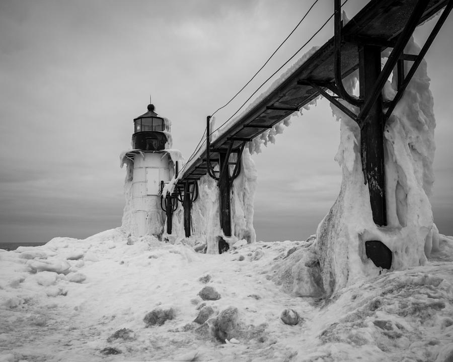 Lighthouse Photograph - Frozen St. Joseph Lighthouse by Kimberly Kotzian