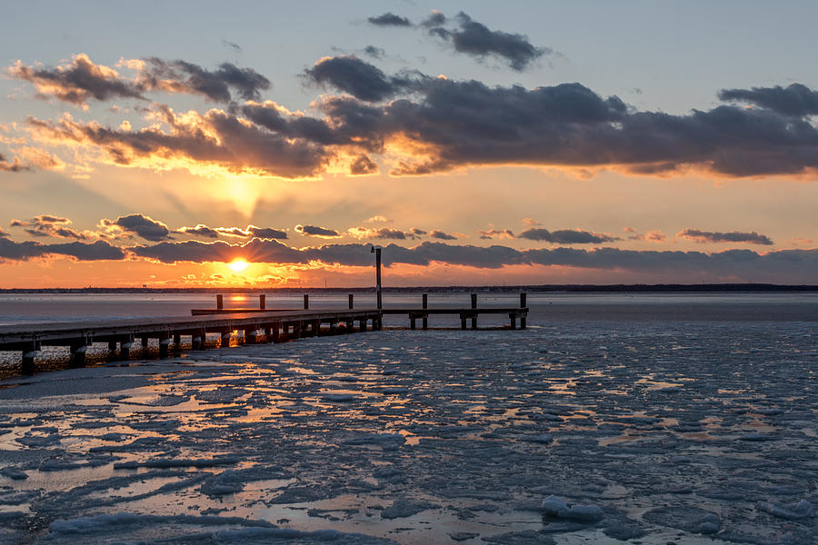 Frozen sunset lavallette new jersey photograph by terry deluco for Lavallette nj