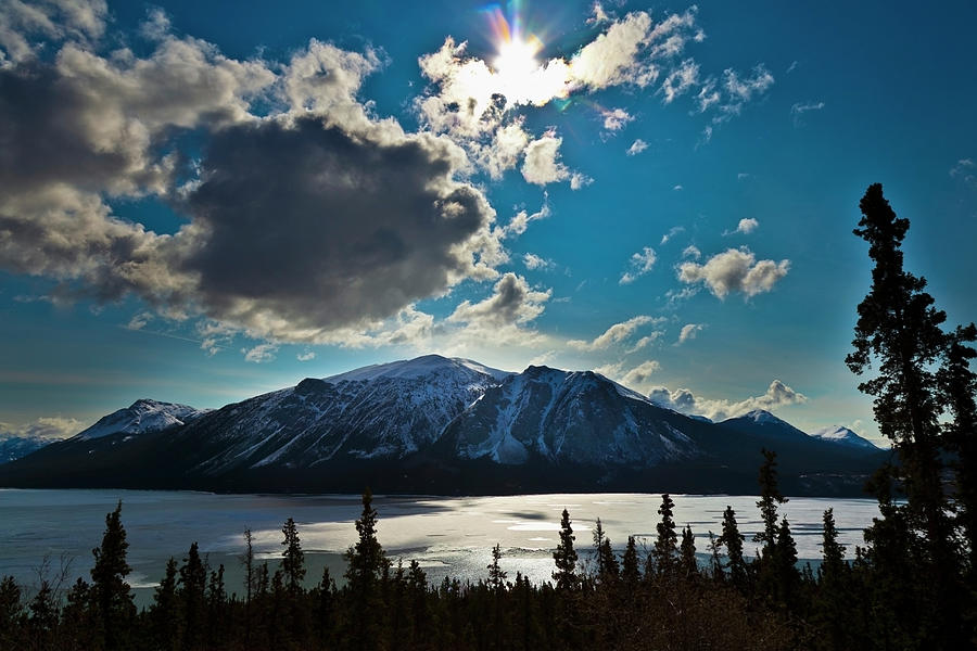 Frozen Tagish Lake And Mountains Photograph by Blake Kent / Design Pics