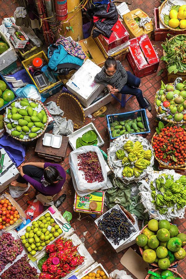 Fruit & Vegetable Market, Hanoi, Vietnam Photograph by Peter Adams