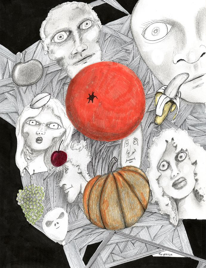 Fruit Drawing - Fruit Afloat by Dan Twyman