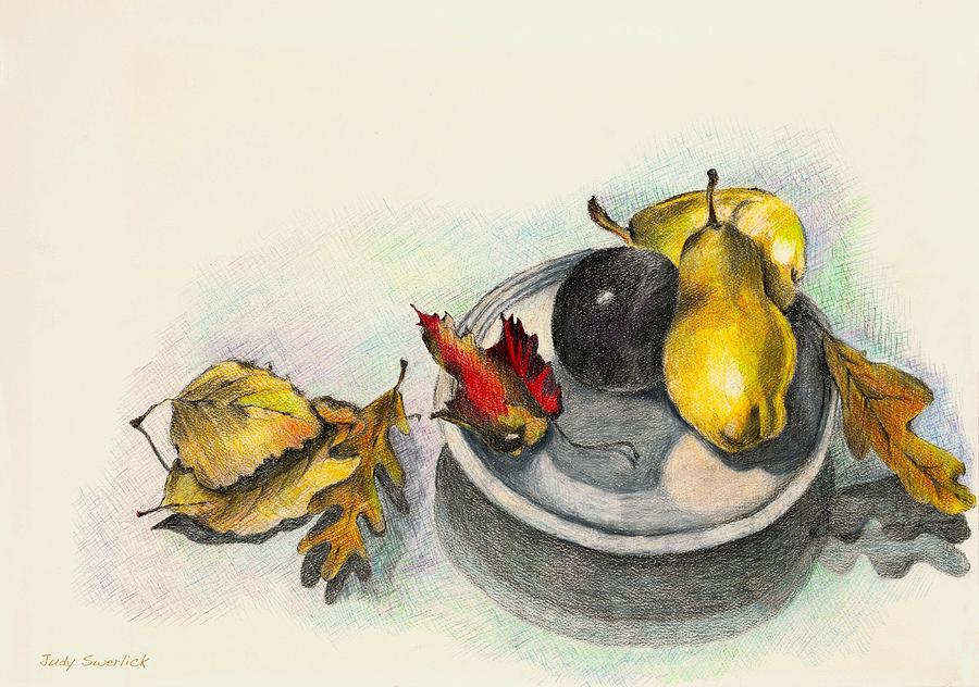 Fruit Drawing - Fruit And Autumn Leaves by Judy Swerlick