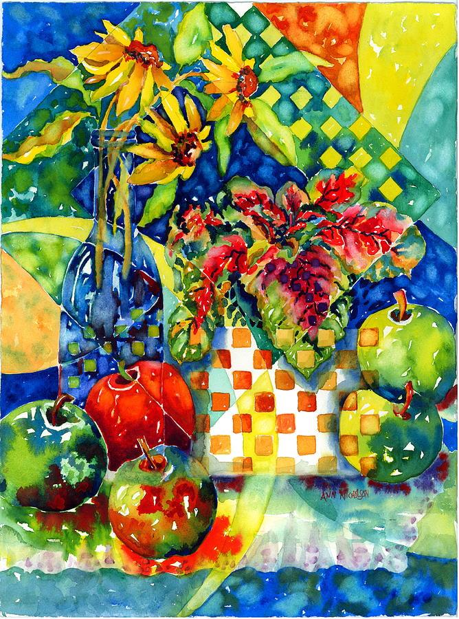 Coleus Painting - Fruit And Coleus by Ann  Nicholson