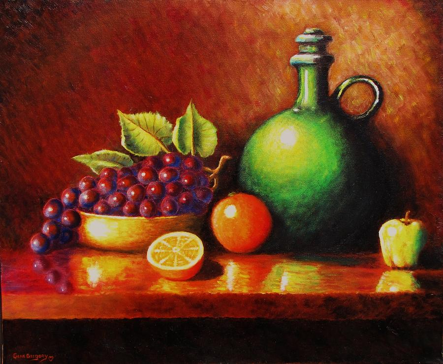 Grapes Painting - Fruit And Jug by Gene Gregory