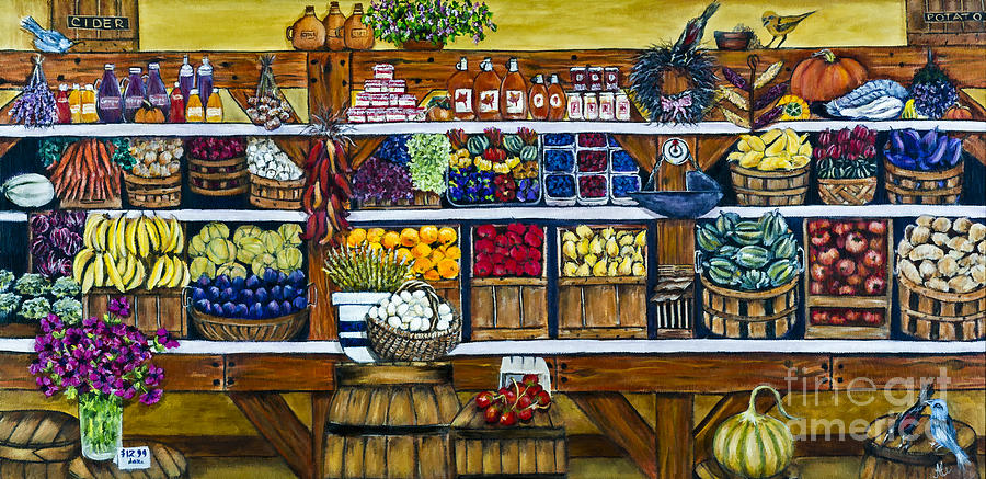 Market Painting - Fruit And Vegetable Market By Alison Tave by Sheldon Kralstein