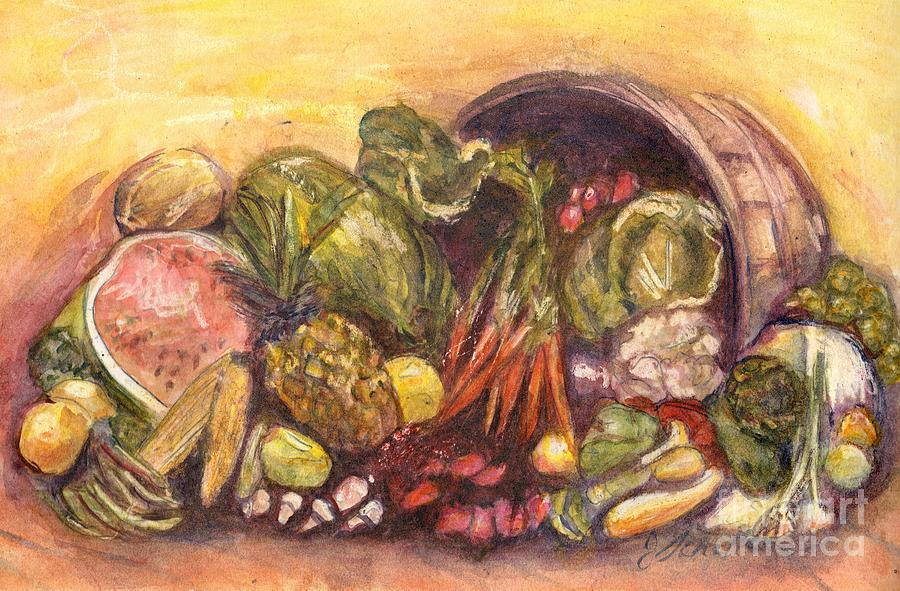 Fruits Painting - Fruit And Veggie Basket by Jodie  Scheller