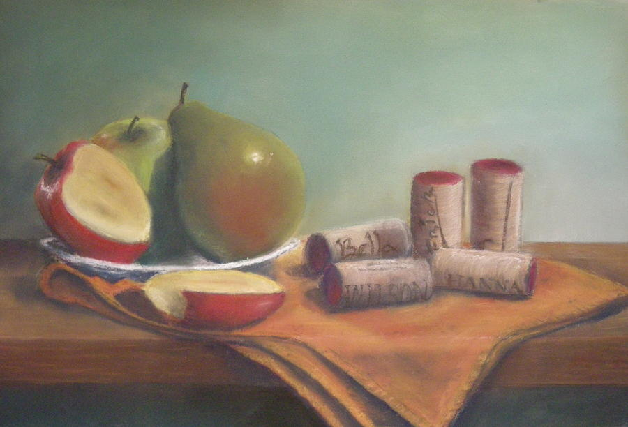 Still Life Painting - Fruit And Wine Corks by Ellen Minter
