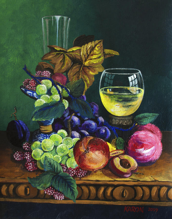 Fruit And Wine Painting - Fruit And Wine by Karon Melillo DeVega