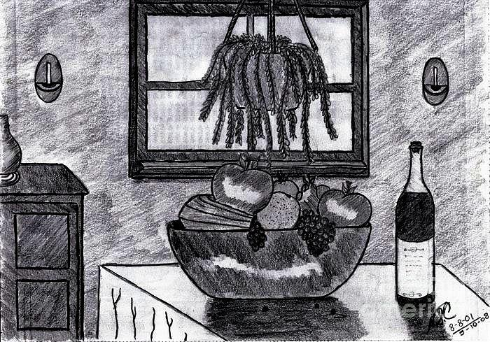 Fruit Drawing - Fruit And Wine N The Morning by Neil Stuart Coffey