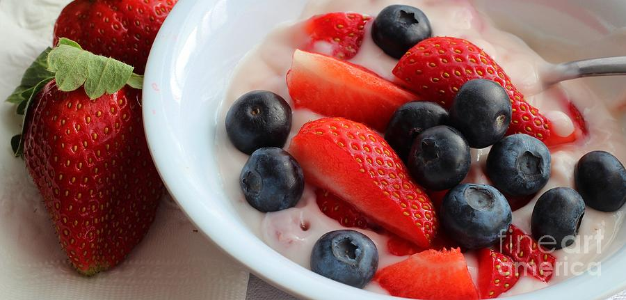 Food Photograph - Fruit And Yogurt Snack 2 by Barbara Griffin