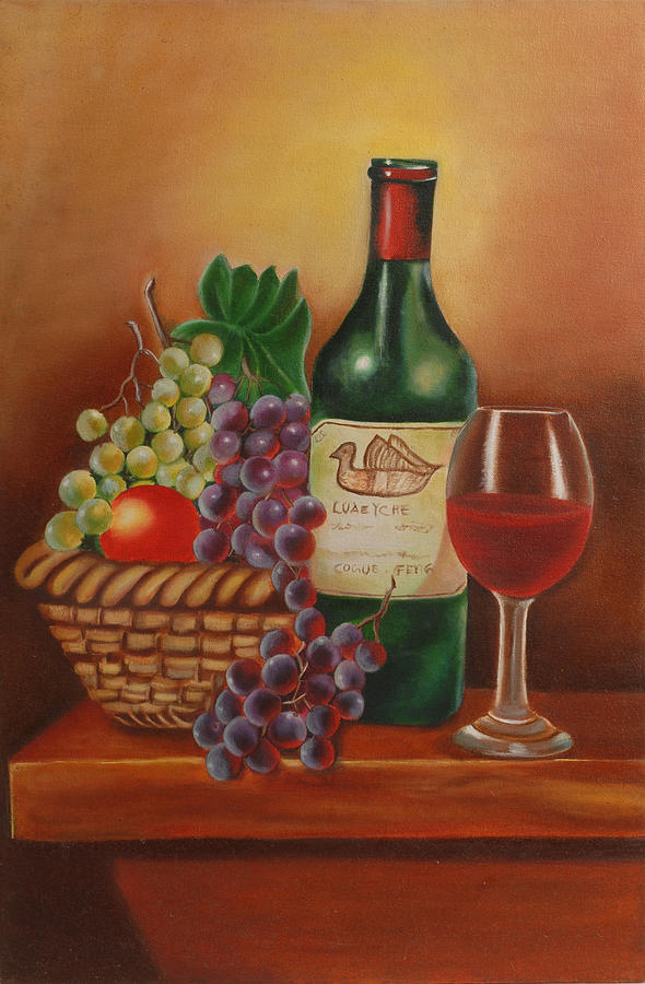 Still Life Painting Painting - Fruit Basket by Alka Sopariwala