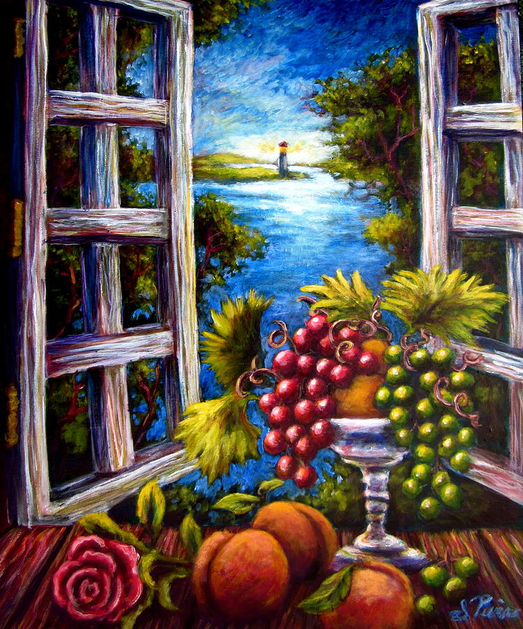 Grape Painting - Fruit by the Bay by Sebastian Pierre
