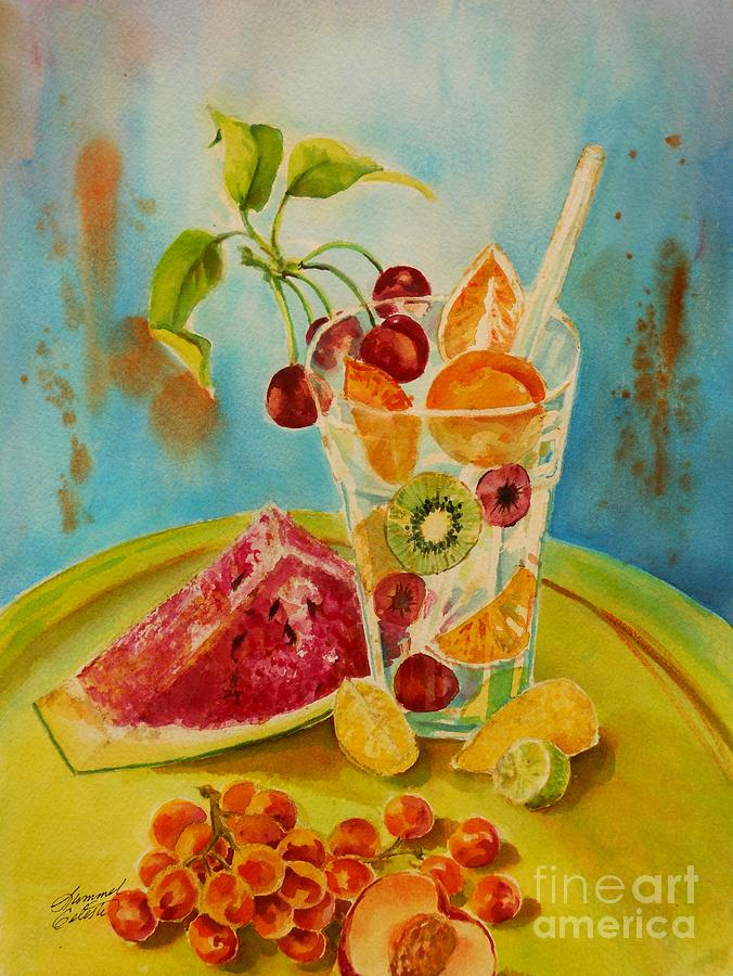 Watercolor Painting - Fruit Coctail by Summer Celeste
