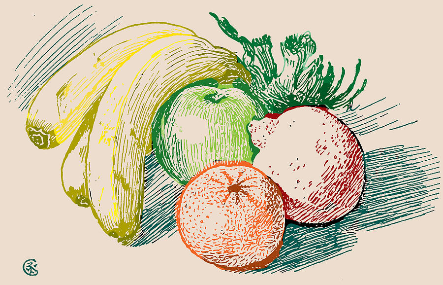 Fruit Drawing In Color Drawing By
