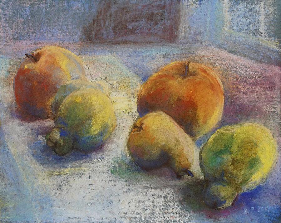 Still Life Pastel - Fruit In Moonlight by Barbara Pommerenke
