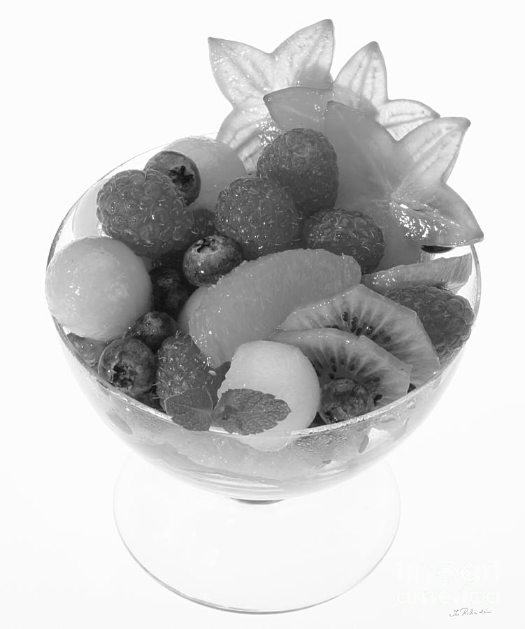 Food Photograph - Fruit Salad Cup Black And White by Iris Richardson