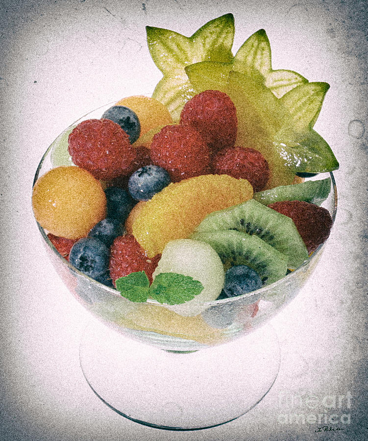 Food Photograph - Fruit Salad Cup Disteressed by Iris Richardson