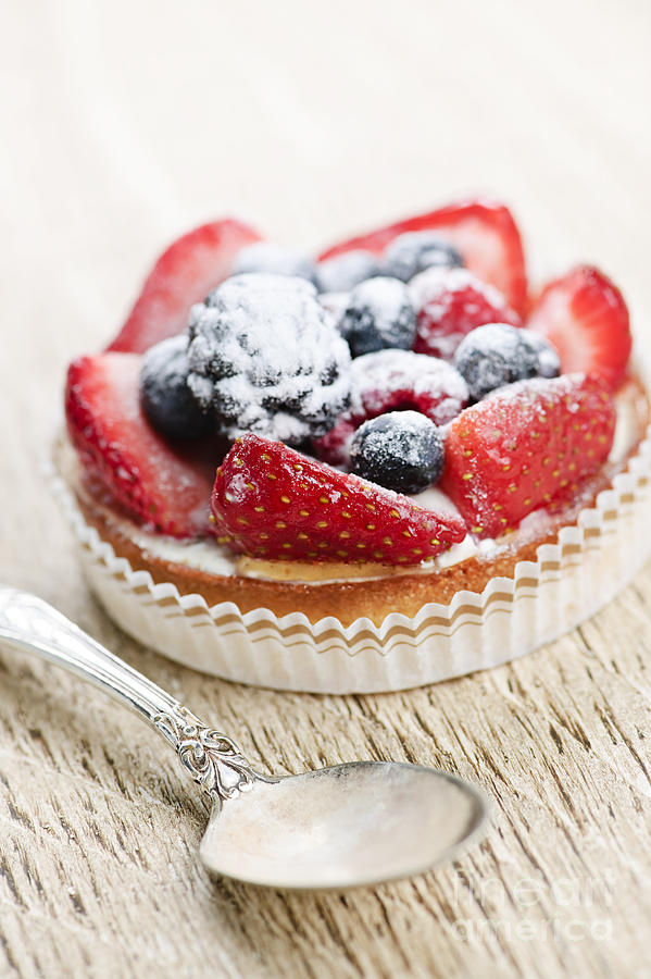 Fruit Photograph - Fruit Tart With Spoon by Elena Elisseeva