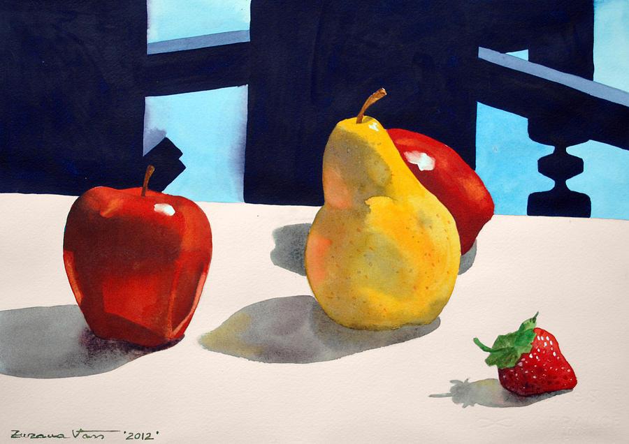 Pear Still Life Painting - First Pear by Zuzana Vass