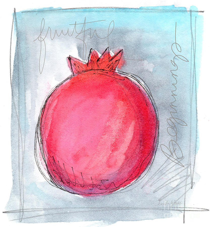 Pomegranate Painting - Fruitful Beginning by Linda Woods