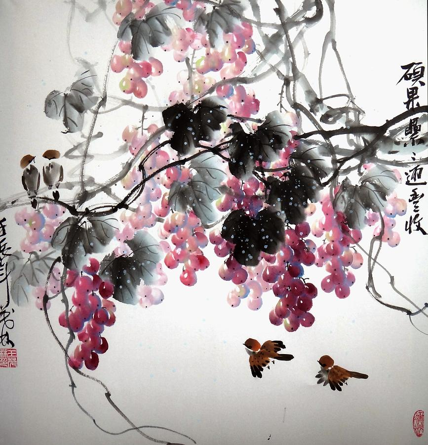 Grapes Painting - Fruitfull Size 3 by Mao Lin Wang