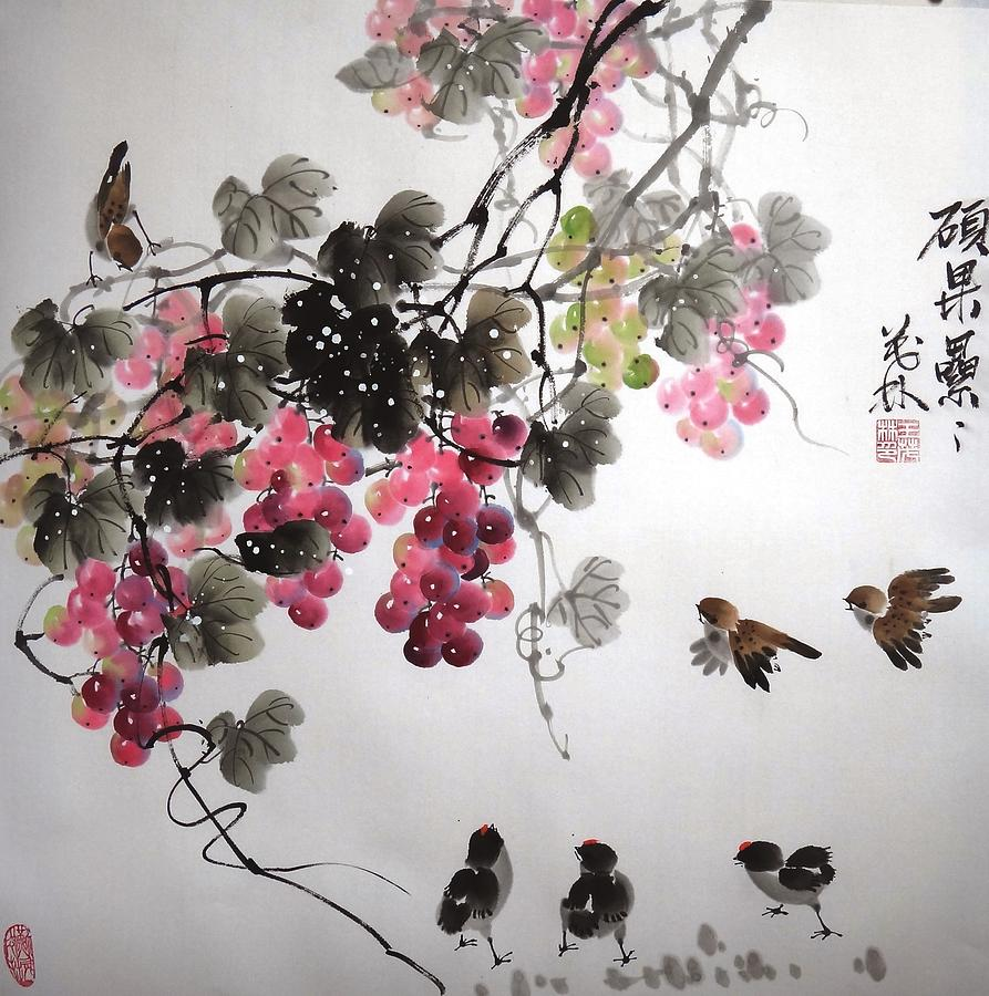 Grapes Painting - Fruitfull Size 4 by Mao Lin Wang