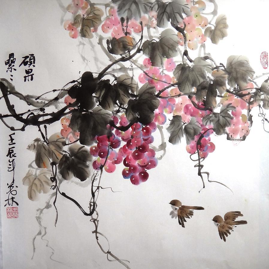 Grapes Painting - Fruitfull Size 5 by Mao Lin Wang