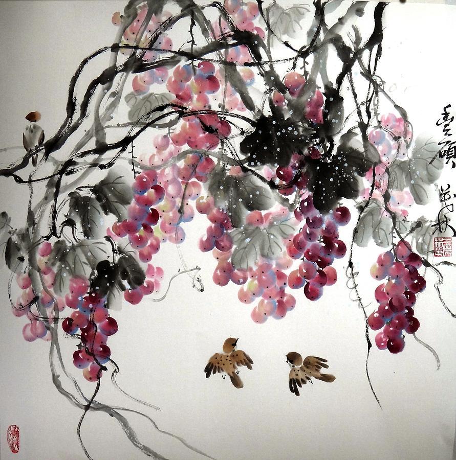 Grapes Painting - Fruitfull Size by Mao Lin Wang