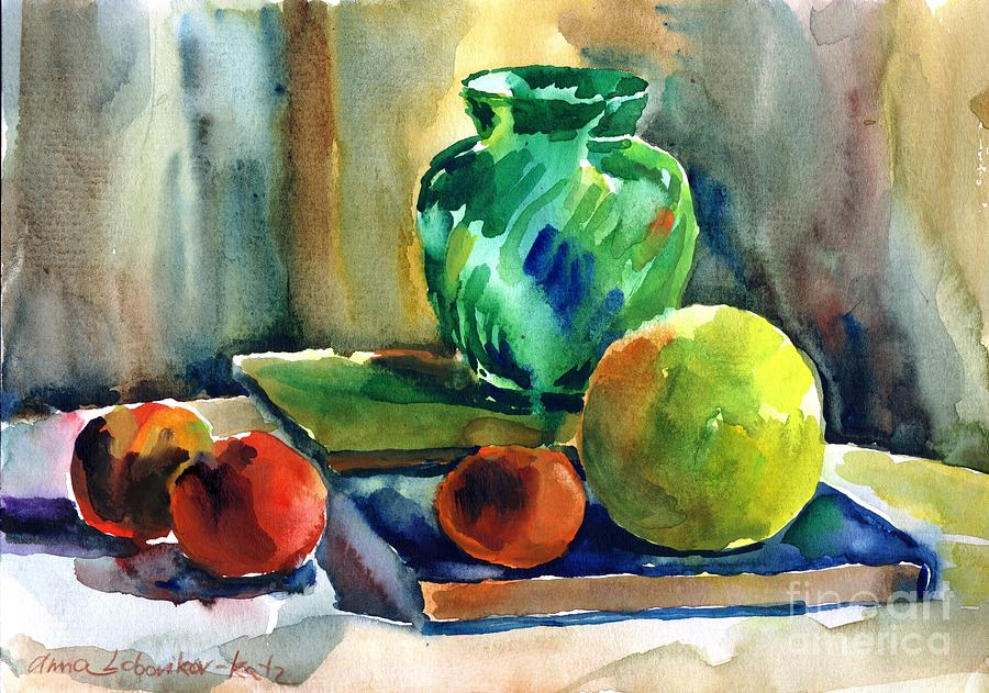 Watercolor Painting - Fruits And Artbooks by Anna Lobovikov-Katz